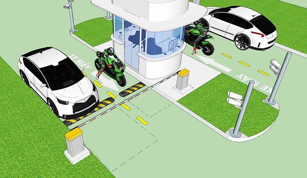 mô hình gồm 1 làn vào và 1 làn ra xe máy và ô tô chung