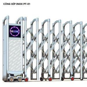 cổng xếp inox tự động PT-01