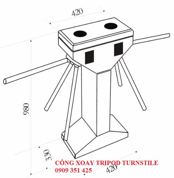Kích thước chi tiết cổng xoay tripod