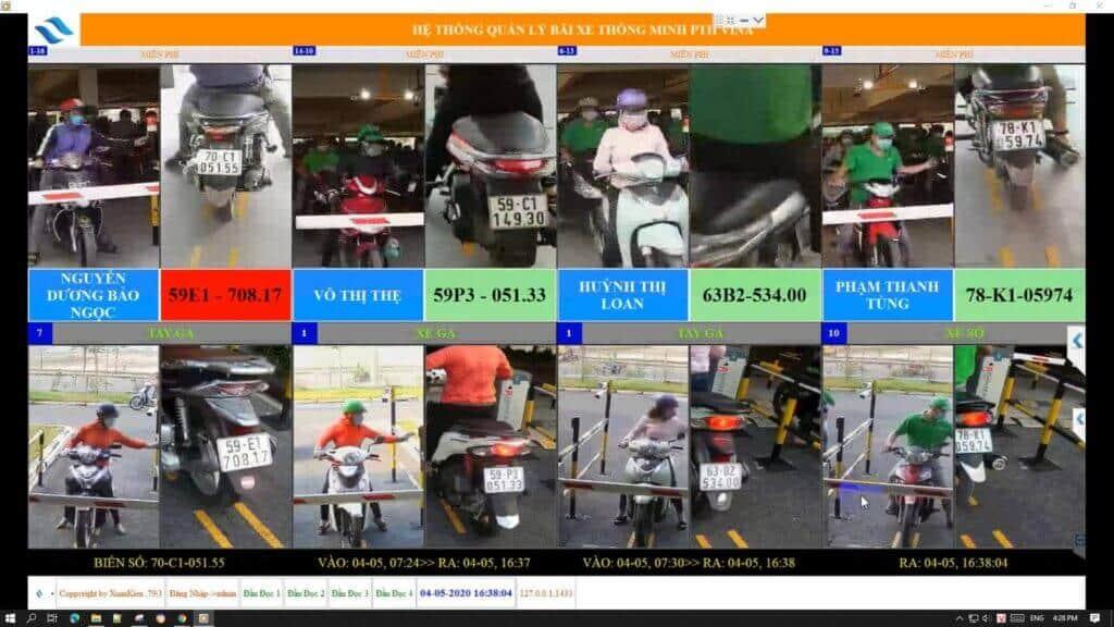 Hình ảnh hệ thống phần mềm giữ xe máy thông minh hoạt động