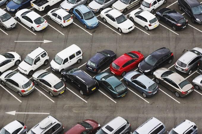kích thước bãi đỗ xe ô tô chéo góc 45 độ