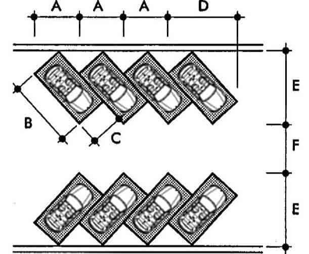 thiết kế kích thước bãi đỗ xe ô tô chéo góc 45 độ