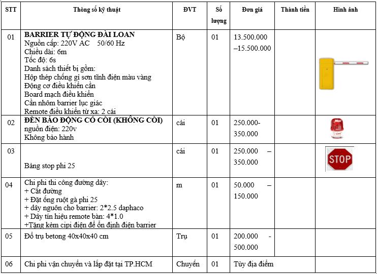 Bảng báo giá lắp đặt barrier tự động baisheng