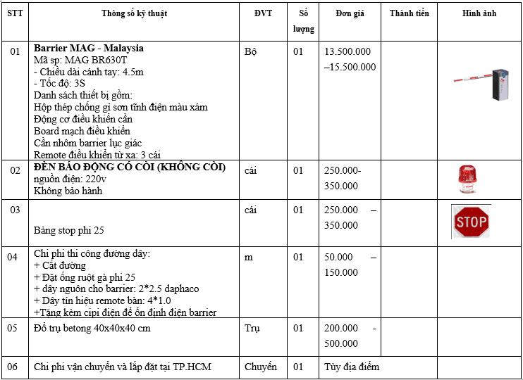 Bảng báo giá lắp đặt barrier tự động Malaysia